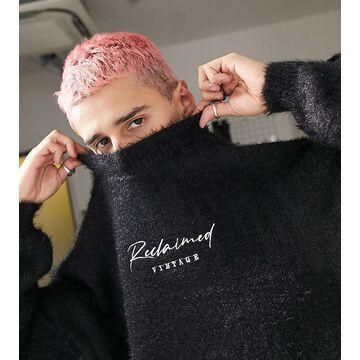 Reclaimed Vintage inspired fluffy logo sweater in black