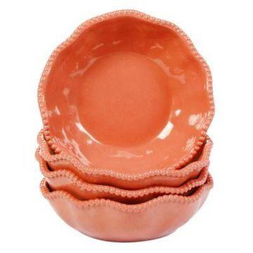 Certified International Perlette Bowls in Coral (Set of 4)