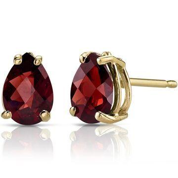 Oravo 14k Yellow Gold 1 3/4ct TGW Garnet Pear Shape Stud Earrings