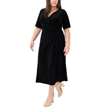 Msk Plus Size Faux-Wrap Midi Dress