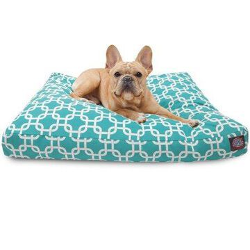 Majestic Pet Links Rectangle Dog Bed Treated Polyester Removable Cover Teal Small 27