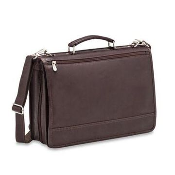 Piel Leather 2-Section Expandable Laptop Case in Chocolate