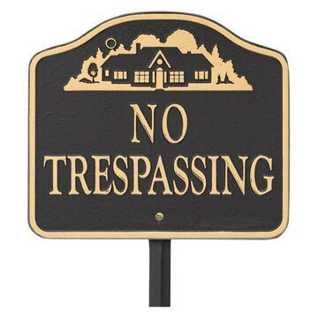 No Trespassing Sign, Cast Aluminum, Wall Or Lawn Mounting