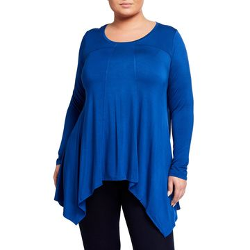 Plus Size Long-Sleeve Sharkbite-Hem Swing Tunic
