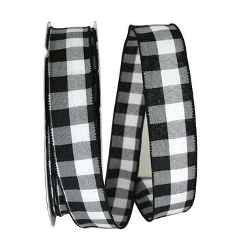 """JAM Paper 1.5"""" Wired Celine Plaid Ribbon in Black/White   1.5"""" x 50yd   Michaels"""
