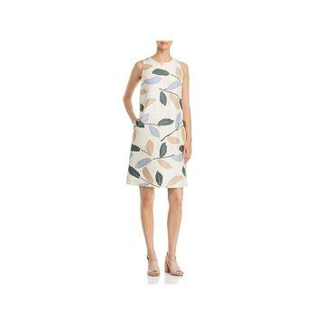 Lafayette 148 New York Womens Shift Dress Linen Embellished - M
