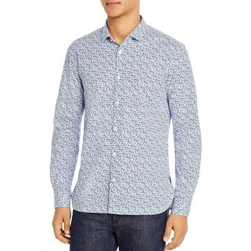 John Varvatos Star USA Mens Button-Down Shirt Floral Slim Fit - Navy/White