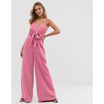 Keepsake restore tie waist wide-leg jumpsuit-Pink