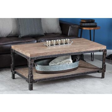 Industrial 19 x 47 Inch Rectangular Coffee Table by Studio 350