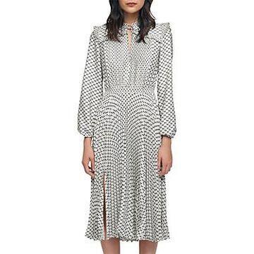 Maje Ripletta Bow Print Pleated Satin Midi Dress