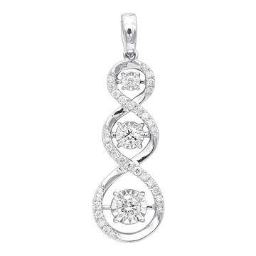 Ladies 3 Stone Infinity Diamond Pendant in 14k Gold 0.5ctw & 16