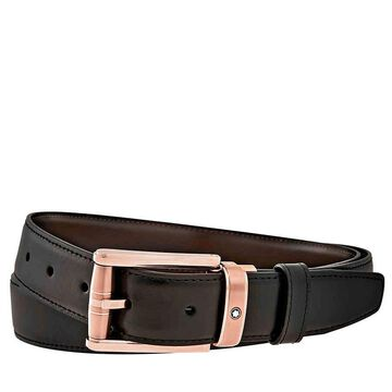 MontBlanc Contemporary Reversible Leather Belt- Black/Brown, Brand Size 120