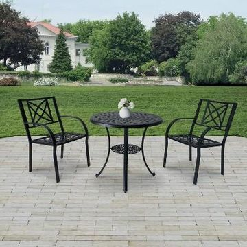 Paracelsus 3pc Aluminum Outdoor Patio Dining Set - Black - Vifah