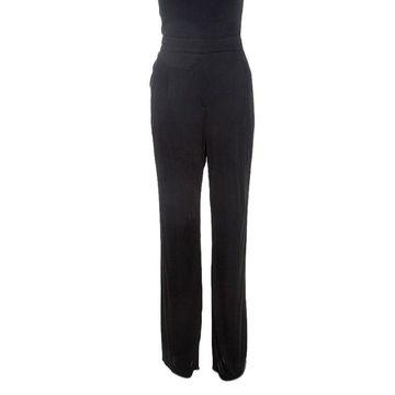 Emilio Pucci Black Stretch Jersey High Waisted Trousers L