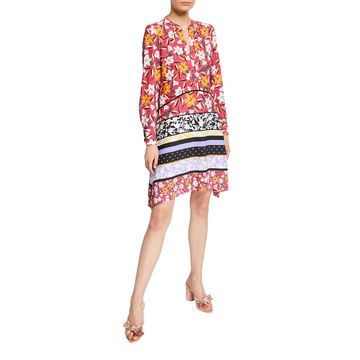 Long-Sleeve Floral-Print Shirtdress