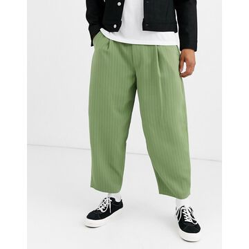 Noak wide leg pinstripe pants in mint-Green