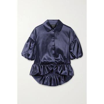 SIMONE ROCHA - Silk-satin Peplum Blouse - Blue
