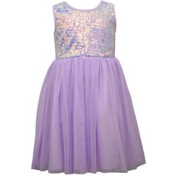 Bonnie Jean Little Girls Sequin Bodice To Mesh Ballerina Skirt with Sash and Bow at Back Waist