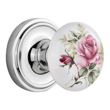 Double Classic Rosette With Rose Porcelain Knob, Bright Chrome
