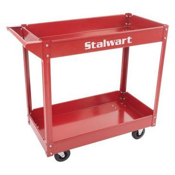 Metal Service Utility Cart w/ Two Storage Tray Shelves, 330 Lbs Capaci