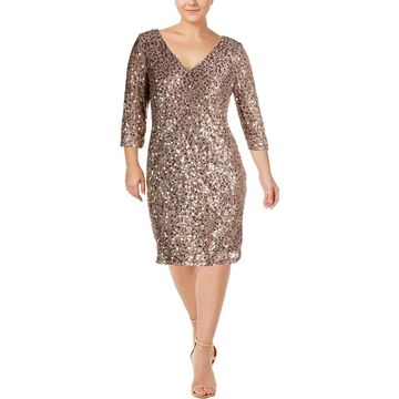 Alex Evenings Womens Party Dress Lace Sequined