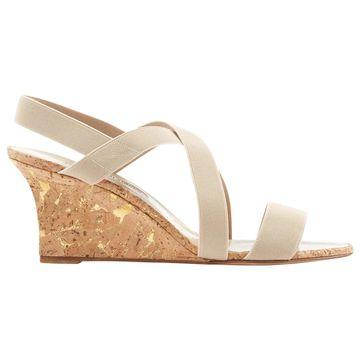 Manolo Blahnik Beige Cloth Sandals