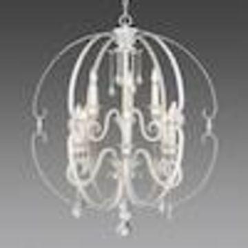 Golden Lighting Ella 9-Light French White Glam Globe Chandelier