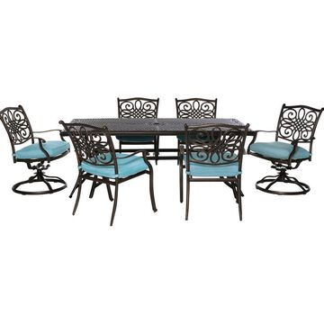 Hanover Traditions 7-Piece Bronze Frame Patio Set with Blue Hanover Cushion(s) Included | TRADDN7PCSW-BLU