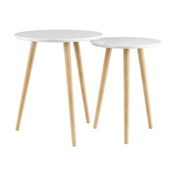 Lavish Home White Circular Top Nesting End Tables