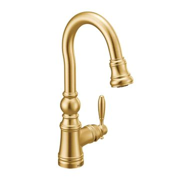 Moen Weymouth Brushed Gold 1-Handle Deck-Mount Bar and Prep Handle Kitchen Faucet   S53004BG