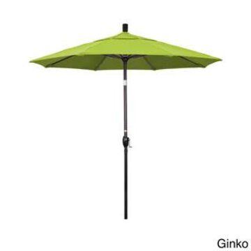 California Umbrella 7.5' Rd. Aluminum Market Umbrella, Crank Lift with Push Button Tilt, Black Finish, Pacifica Fabric