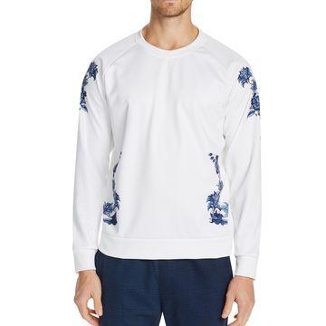 Men's Slim-Fit Stretch Floral Sweat Shirt