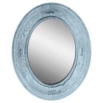 Oval Rustic Wood Villa Decorative Wall Mirror Blue - PTM Images