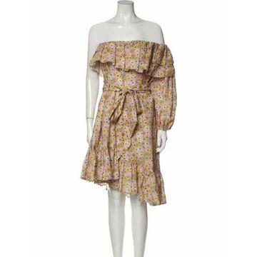 Linen Knee-Length Dress Pink