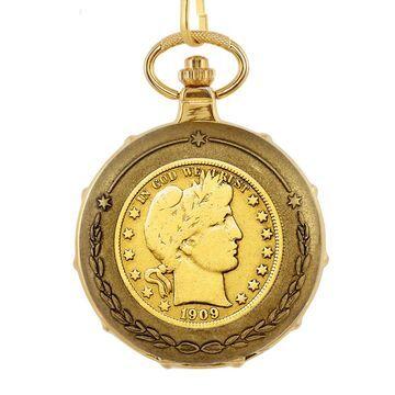 American Coin Treasures Men's Goldplated Barber Half Dollar Train Pocket Watch (Pocket Watch)