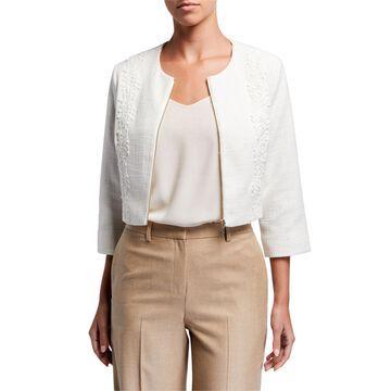 Zip-Front Lace Tweed Jacket