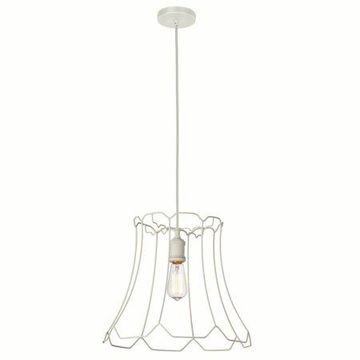 Dainolite 1 Light Metal White Framed Pendant