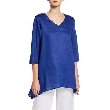 V-Neck Split-Sleeve Tissue-Linen Side-Fall Tunic