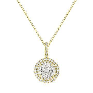 Auriya 14k Gold 2 3/5ct TDW Round Double Halo Diamond Necklace