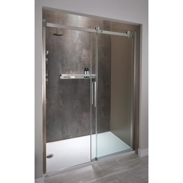 Jacuzzi 47-in to 48-in W Semi-Frameless Brushed Nickel Bypass/Sliding Shower Door