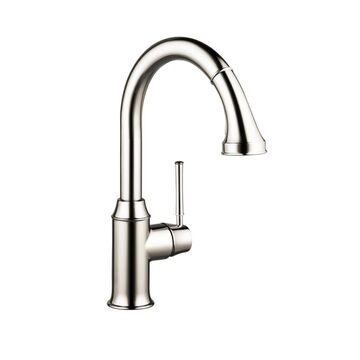 Hansgrohe Talis Polished Nickel 1-Handle Deck-Mount High-Arc Handle Kitchen Faucet (Deck Plate Included)