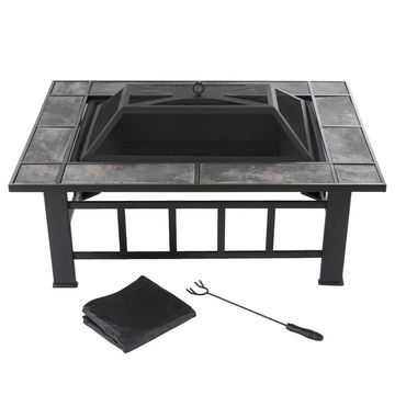 Pure Garden 37-inch Black Rectangular Tiled Fire Pit with Cover