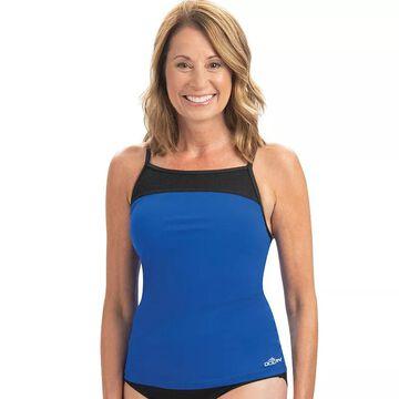 Women's Dolfin Aquashape Solid Crossback Tankini Top, Size: Medium, Blue
