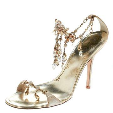 Rene Caovilla Metallic Gold Suede Crystal Embellished Anklet Open Toe Sandals Size 39.5