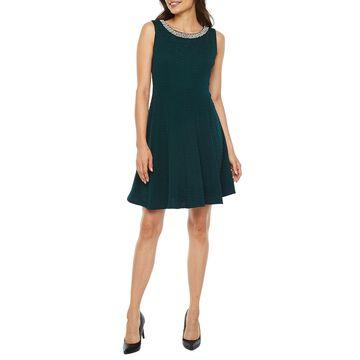 Studio 1 Sleeveless Embellished Fit & Flare Dress-Petite