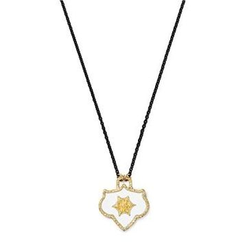 Armenta 18K Yellow Gold & Blackened Sterling Silver Crivelli Champagne Diamond Shield Pendant Necklace, 16