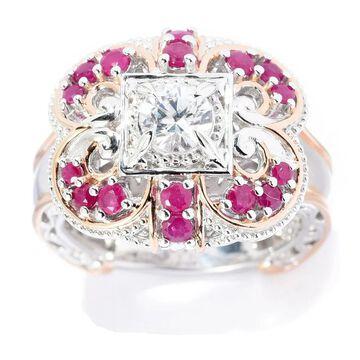 Michael Valitutti Palladium Silver Ruby & White Zircon Flower Ring