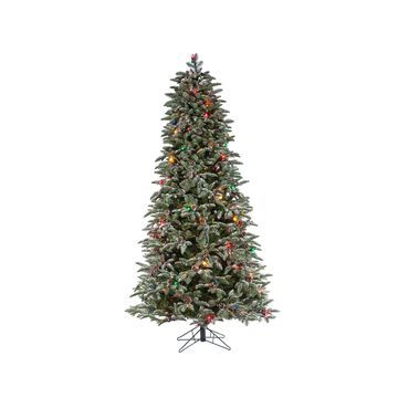 Sterling 6.5-Foot High Flocked Pre-Lit Mountain Pine with Instant Glow Power Pole feature
