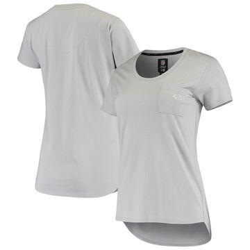 San Francisco 49ers 5th & Ocean by New Era Women's Baby Jersey Pocket Tri-Blend Scoop Neck T-Shirt Gray