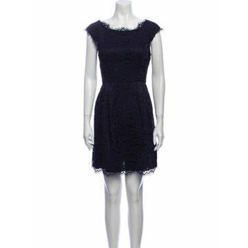 Lace Pattern Mini Dress w/ Tags Blue